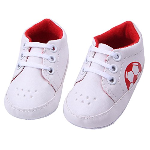 kingko® Bouton chaud Chaussures de marche pour bébé Toddler Girls Semelles souples Crib Bottes Flats coton Rouge