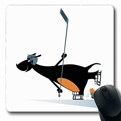 Luancrop Mousepads für Computer Farbe Hund Eishockey Spieler Wildlife Sport Comic Dackel Spaß Grafik Helm Design Event rutschfeste Oblong Gaming Mouse Pad