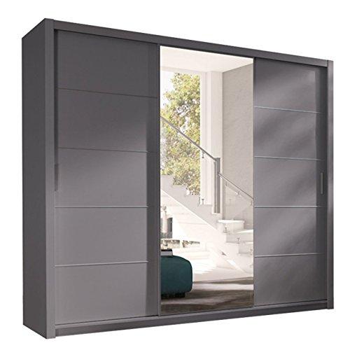 Kleiderschrank mit Spiegel Geodi, Elegante und Modernes Schwebetürenschrank, Schiebetür, Schlafzimmerschrank, Schlafzimmer, Jugendzimmer (250 cm,...