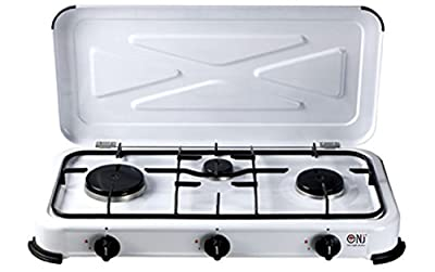 Gaskocher 3 flammig Campingkocher 3er Kocher 3,5 KW mit Deckel Gasherd Kochfeld inkl. Gasschlauch-Regler-Set 150cm/ 50mbar von Nj bei Outdoor Shop