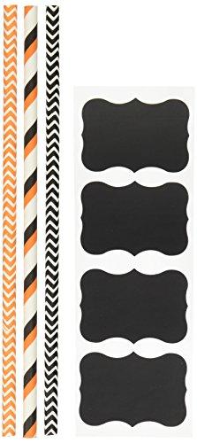 Außerhalb der Box Papier gestreift und Chevron Halloween Papier Trinkhalme 19,7cm 100Stück schwarz, weiß, orange (Schwarz Und Weiß Chevron)