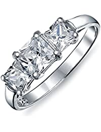 Sterling Silver CZ Square Past Present Future Engagement Ring