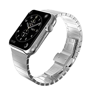 KADES Solid Stainless Steel Link Bracelet Compatible for 42mm Apple Watch Series 1/2/3 all versions (1st Generation, Silver)