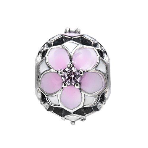 Charms Bead da Donna Argento Sterling 925 Cristalli Zirconia (fiori di ciliegio) CHANGEABLE