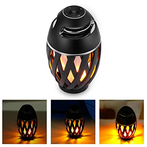 96LED Flame Atmosphere Lamp Wireless Bluetooth Speaker Outdoor Portable Stereo(Color:Black)