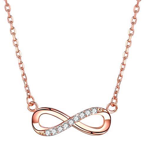 F.ZENI Kette Damen 925 Sterling Silber Funkeln Kubisches Zirkonia Kuss Halskette Akzent Unendlichkeit für Immer Ketten für Damen (öffnen Diamanten Herz-halskette Sie Mit)