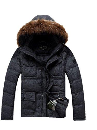 BOMOVO Herren Mit Kapuze Woll Kälte Abschnitt Dickes Outdoor Schlank Warmen Parka Winterjacke Fellkapuze Dark Grau