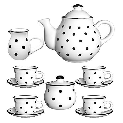 City to Cottage Teeservice aus Keramik, Handbemalt, für 4-6 Tassen, Milchkännchen, Zuckerdose mit 4 Tassen und Untertassen, Weiß/Schwarz -