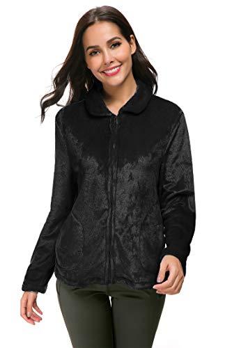 YOZLY Damen Bettjacke mit Reißverschluss vorne, Fleece, kurz, mit Taschen, S-XXL - Schwarz - X-Large - Damen Reißverschluss Vorne Fleece-bademäntel