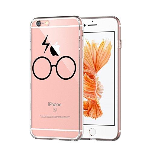 Coque iPhone 6/6S,Vanki® Modèle simple Housse Transparente Housse TPU Souple Etui de Protection Silicone Case Soft Gel Cover Anti Rayure Anti Choc pour Iphone 6/6S lunettes de foudre