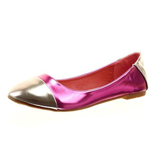 sopily-chaussure-mode-ballerine-cheville-femmes-brillant-talon-bloc-1-cm-interieur-synthetique-fusch