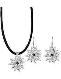 Elli Damen-Halskette + Ohrringe Edelweiss 925 Sterling Silber Swarovski Kristall schwarz 0905711314_45