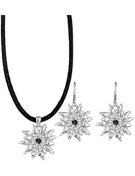 Elli Damen-Set: Halskette + Ohrringe Wiesnschmuck 925 Sterling Silber mit Swarovski Kristallen