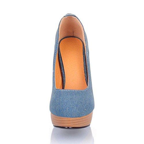 COOLCEPT Femmes Mode Fermeture Eclair Chaussures Bout Ferme Talon Aiguille Heel Escarpins for Soiree Mariage Dark Bleu