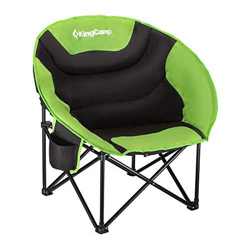 KingCamp Moon Chair Chaise de Camping Easy Up jusqu'à 120 kg Camping Fauteuil Chaise Pliante Angel pour Camping pêche randonnée Pique-Nique avec Sac de Transport, 84 × 70 × 40/80 cm, Vert