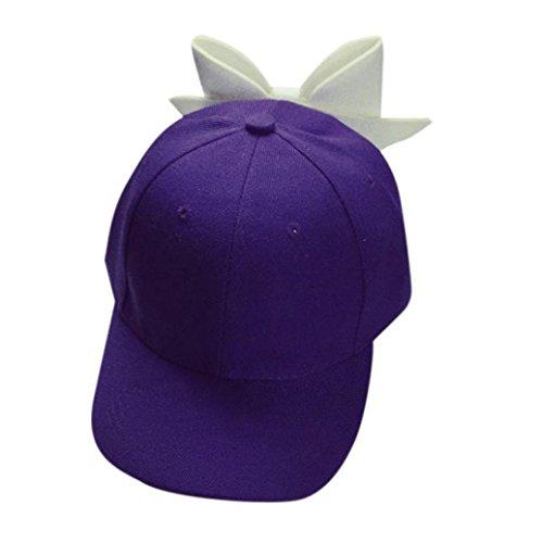 Fuibo Kappe für Herren und Damen, Solide Bogen Mädchen Cap Snapback Hip Hop Cap flach| Basecap, Baseball Cap, verstellbar (Lila) (Baumwoll-baseball-jersey Solide)