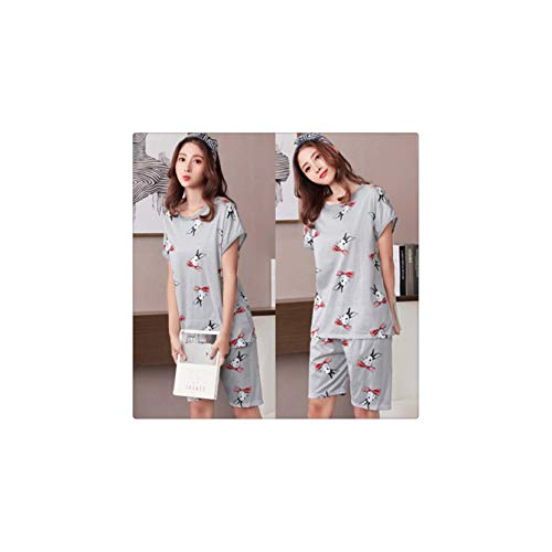 Korean Style Cartoon Print 2 Piece Set Milk Silk Women Pajama Sets Shorts Elastic Waist Loose Home Wear Pyjamas Sleepwear 2019 Pattern 8 L