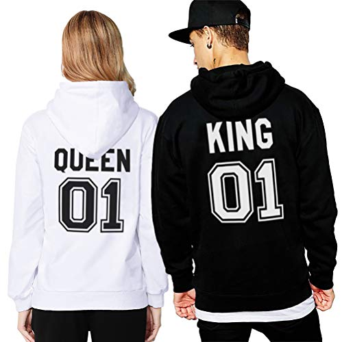 Felpa Coppia King Queen Manica Lunga Pullover Fidanzati con Cappuccio  Stampa Sweatshirt Cotone San Valentino Uomo ... 46ba17c8a93