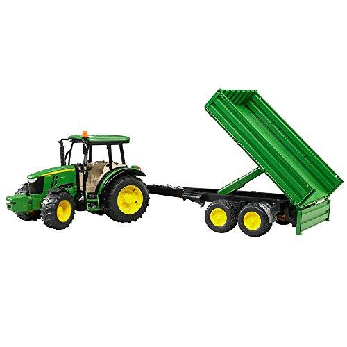 BRUDER - 02108 - Tracteur JOHN DEERE 5115M vert avec remorque