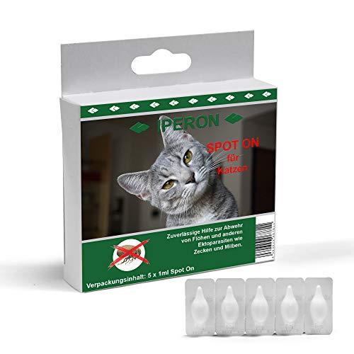 Lyra Pet® 5 x 1 ml IPERON Spot-ON für Katzen gegen Zecken Flöhe Ungeziefer Abwehr -