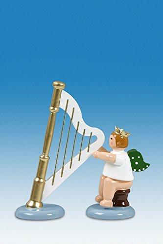 Engelmusikant Engel sitzend mit Harfe ohne Krone Höhe ca 6 cm NEU Holzengel Weihnachtsengel Erzgebirge Holz