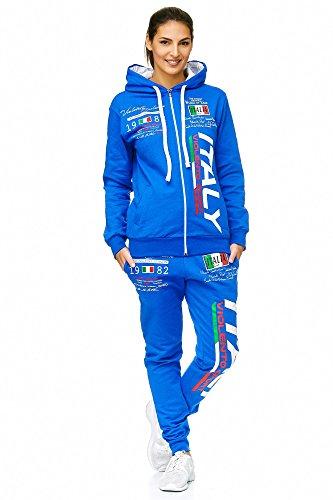 Damen Sportanzug Jogginganzug Italien 100% Baumwolle (M=Fällt Groß aus, Blau ) (Shorts Running Zebra)