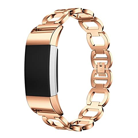 Toamen For Fitbit Charge 2 Genuine Stainless Steel Bracelet Smart