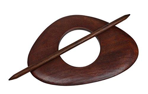Raffspange Gardinenspange aus Holz, Oval mit Separatem Stift, Farbe Wählbar (Cognac)
