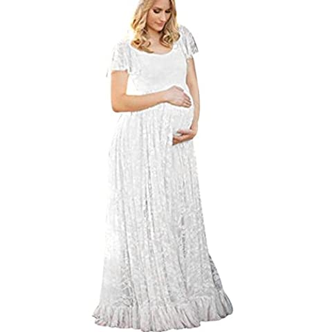 Dentelle florale Robe pour Femmes ,Grande Taille Manche courte La photographie Traîne O Neck Longue enceintes jupe (4XL, Blanc)