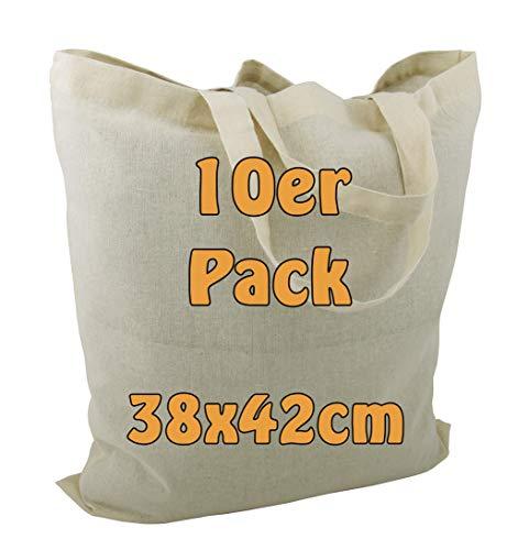 Cottonbagjoe Baumwolltasche Jutebeutel unbedruckt mit Zwei kurzen Henkeln 38x42cm Öko-Tex 100 Standard Zertifiziert (Natur, 10 Stück)