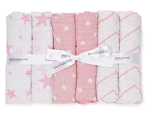 cuadrados MuslinZ: 6 pa/ños de muselina para beb/é 100/% algod/ón dise/ño de estrellas 70 x 70 cm
