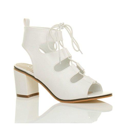 Damen Hoher Absatz Ausgeschnitten Reimchen Peep toe Stiefeletten Sandalen Größe Weiß Matt