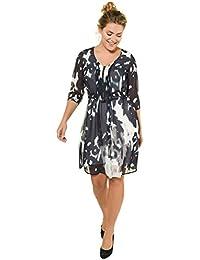 6aa42b5bf15b4f Ulla Popken Damen Große Größen bis 60 | Kleid | Doppellagig aus Chiffon |  Batikmuster