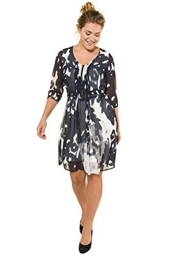 oße Größen bis 60 | Kleid | doppellagig aus Chiffon | Batikmuster | Tiefer V-Ausschnitt | Bindegürtel | 3/4-Ärmel | nachtblau 50 716115 70-50 (Klassisches Kleid Bis)