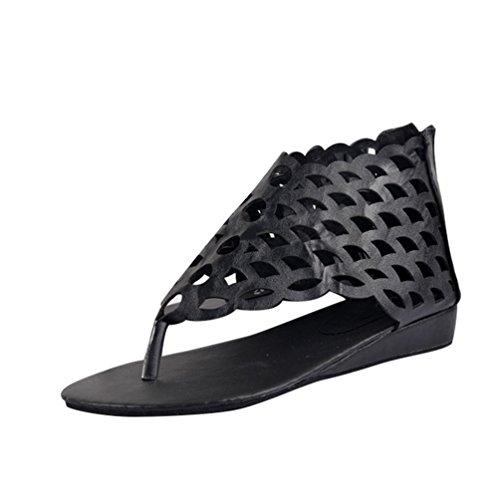 NiSeng Damen Ethnische Stil Sandalen Retro Fischschuppen Sandalen Mode Flache Sandalen Schwarz