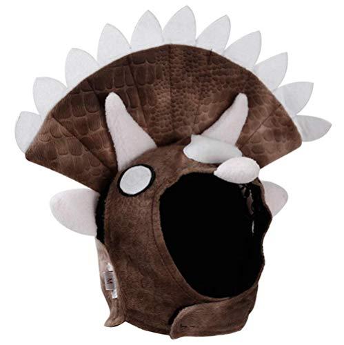 Triceratops Hunde Kostüm Halloween Dinosaurier PET Kopfstück Hat Cosplay Kostüm Braun
