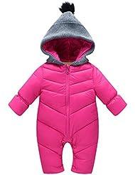 Combinaisons de neige pour Bébé Vine Barboteuse à Capuche Hiver Chaud Bodys avec Fermeture éclair
