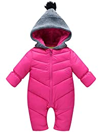 5c07a17c8 Baby Rompers Winter Jumpsuit Girls Snow Wear Vine Hooded Bodysuits, Rose, 6 -12