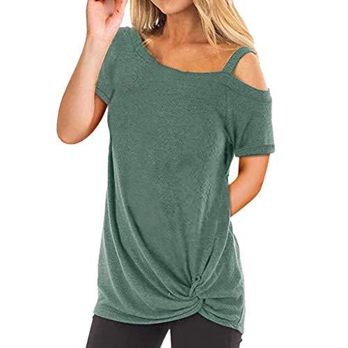 TWIFER Kurzärmeliges Damen T-Shirt Kurzarm Reine Farbe Top Fashion T Shirt Sommer Bluse