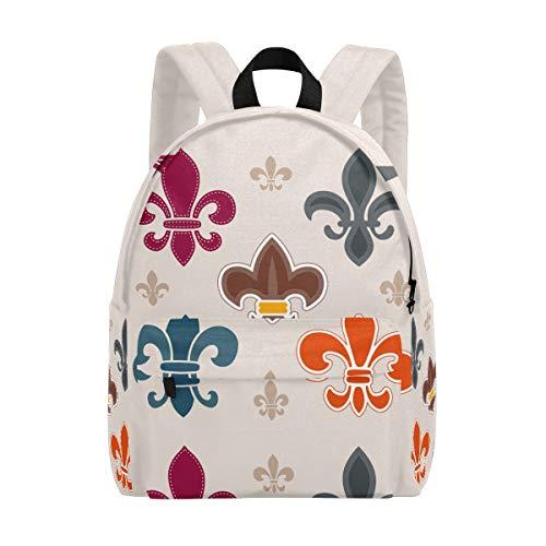 Lässiger Rucksack für Herren und Damen, klassisch, Verschiedene Fleur de Lis Grafik, Schulranzen für Jungen, Hochschul, College, Daypack 15 in Laptop - Damen-fleur De Lis