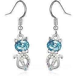 Thumby Accesorios Pendientes de Cristal de Moda de Dibujos Animados Pendientes Lindos de Diamante Pendientes de Gato, mar Azul