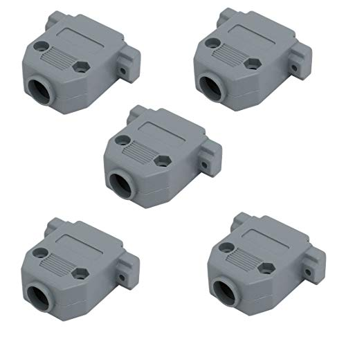 ZCHXD DB25 D-SUB 25 Terminal 2 Rows Female Connector Gray Plastic Cover Cap Protector Case 5 Pcs Gray Terminal