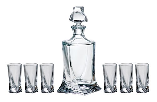BARSKI-Europäische Qualität-7-teiliges Bar-Set-für Whiskey oder Likör-mit-17Oz Dekanter-6PCS von 1,7oz Shot Gläser-Bleifrei Kristalline-in Geschenkverpackung-made in Europe -