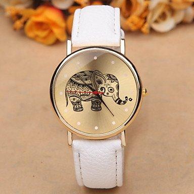 XKC-watches Relojes de Mujer, Damas Moda Mujer Ocio Miran Estudiantes Reloj Elefante Reloj de Cuarzo Reloj Unisex para un Regalo (Color : Blanco, Talla : para Mujer-Una Talla)