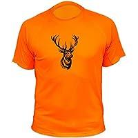 Camiseta de Caza Ciervo - Ideas Regalos Cazadores (30149, Naranja, XL)