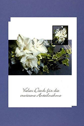 Trauer Danksagungen 5er Packung 5 Doppelkarten mit Umschlägen Vielen Dank für die erwiesene Anteilnahme
