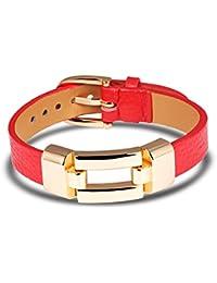 Ilove UE acier inoxydable bracelet en cuir bracelet manchette Rouge Argent  Boucle de Ceinture poli Punk a1da741253a