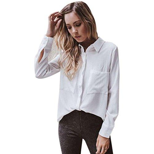 Blusa blanca de manga larga de algodón