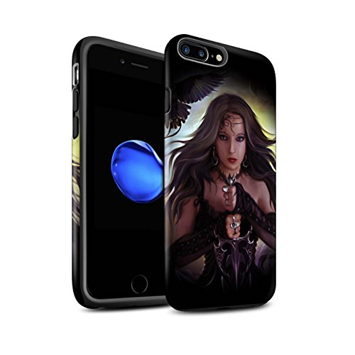 Officiel Elena Dudina Coque / Matte Robuste Antichoc Etui pour Apple iPhone 7 Plus / Feu et d'Acier Design / Super Héroïne Collection Coeur Noir