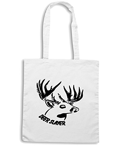 T-Shirtshock - Borsa Shopping FUN1184 deer slayer 2 Bianco